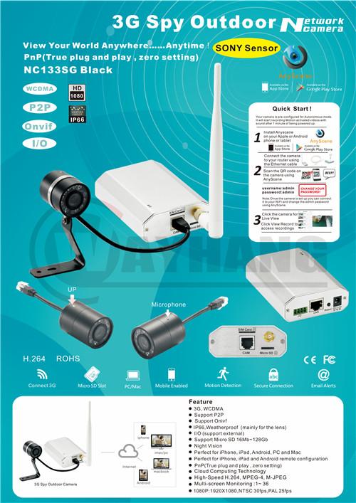 3G wireless mini CCTV IP camera WCDMA sim card motion detect